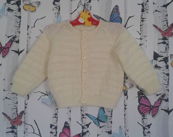 Girls Cardigan, 9 - 12 Months, Lemon Cardigan, Knitted Cardigan, Baby Girl, Handmade, Hand Knitted