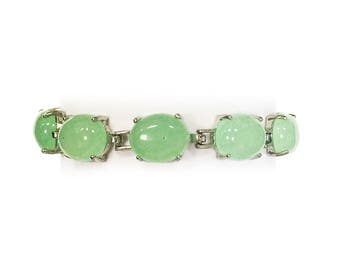Stunning Lustrous Silver Pale Green Oval Jade Bracelet