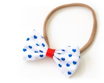 """Bow hair band all sizes """"blue hearts"""""""