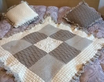 Tipping-covered quilt knitted blanket--knitted Merino Wool