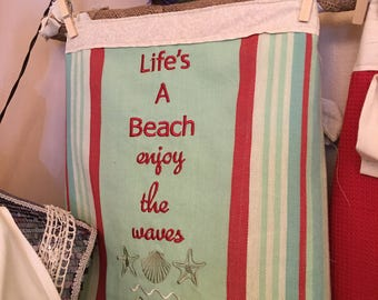 Life's A Beach Kitchen Towel Apron Skirt...Wear With or Without Your Favorite Apron