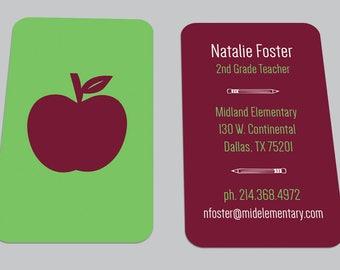 Modern Apple Custom Teacher BUSINESS CARD / School Calling Card / Contact Card