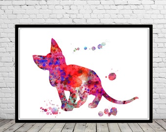 Devon Rex, Sphynx, Sphynx Cat, Cat, cat print, watercolor print, animal painting, cat, animal art, Sphynx cat (2741b)