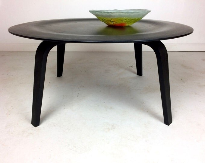 SOLD Mid Century Modern Herman Miller Eames Black Coffee Table Bentwood CTW