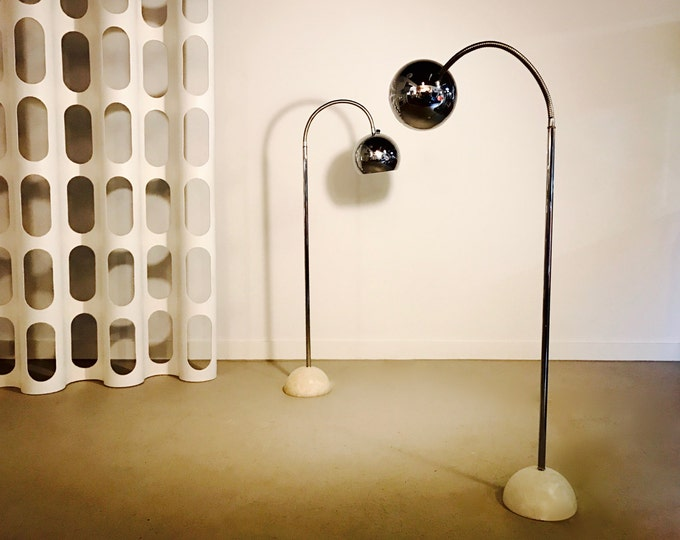 SOLD Mid Century Modern Pair of Bendable Eyeball  Chrome and Marble Floor Lamps