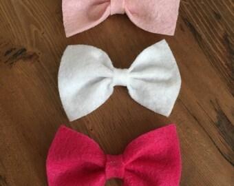 Felt Bow Headband, Felt Bow, Baby Bow Headband, Nylon Baby Headband, Bow Clip, Pink Headband