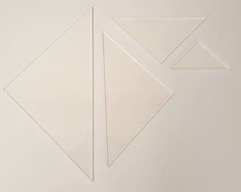 """Triangle Patchwork Templates 3mm Clear Acrylic 1 1/2""""-4 1/2"""" Quilting Ruler"""