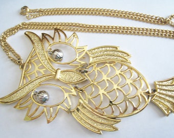 Gold Tone Owl Necklace