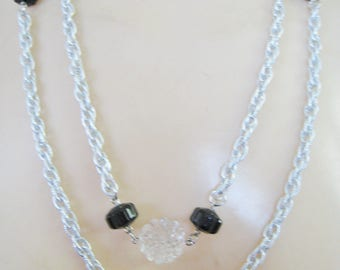 Sarah Coventry Silver Tone w/ Black Accents necklace