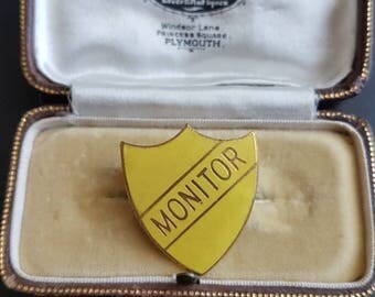 Vintage school shield Prefect MONITER yellow enamel badge pin
