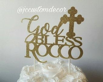 Baptism Christening Cake Topper-God Bless Cake Topper-Baptism Glitter Cake Topper-Cross Cake Topper-Baptism Cake Topper Girl Boy