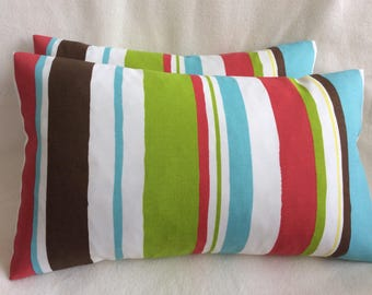 Cabana Stripe Lumbar Indoor/ Outdoor Pillow Cover Set - Multi-colored Robert Allen Fabric - 2pc Set - 12x20 Covers