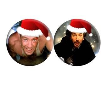 CHRISTMAS Die Hard (1988) handmade film / movie badges [Bruce Willis, Alan Rickman]