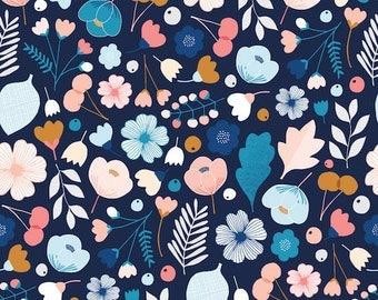 Navy Floral Fabric, Dashwood Studios, Millefleur, 100% Cotton, Flower Fabric, Girls Fabric, UK