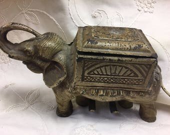 Antique Cast Iron Elephant Cigarette Dispenser