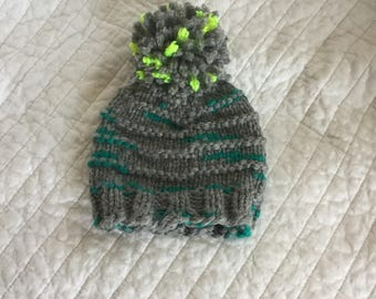 Hand knit wool baby hat