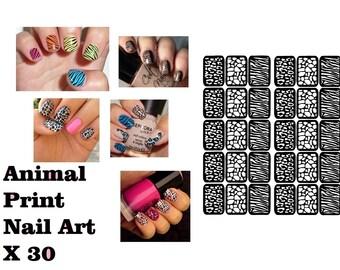 30 X Animal Print Safari Nail Art Stencils Sticker Vinyl Airbrush Manicure Decal