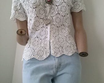 short sleeved crotchet top size 10-12