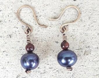 Blue Pearl and Tigereye Bronze Earrings, Freshwater Pearl Earrings, Gemstone Earrings, blue Pearl Drop Earrings, Wire Wrap Dangle Earrings