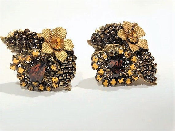 Signed EUGENE Rhinestone Earrings 1950s 50s Mid Century Clip On Designer Eugene Shultz Hollywood Wedding Bronze Glass Seed Bead Amber Topaz