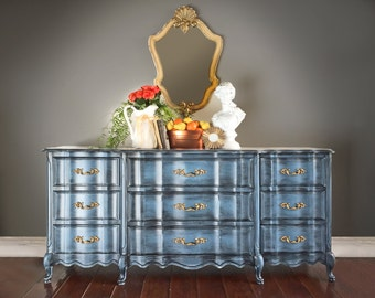 SOLD - Dresser, French Provincial Dresser, Vintage, Buffet, Painted Furniture, Hand Painted, Romantic, Boho, Cottage Chic