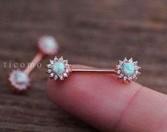 nipple ring nipple piercing nipple jewelry nipple barbell fire opal zircon flower Rose Gold Green #1N01G