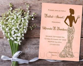 Printable Bridal Shower Invitation, Lady in sparkle dress, Invitacion Despedida de Soltera. Digital Printable wedding Invite.