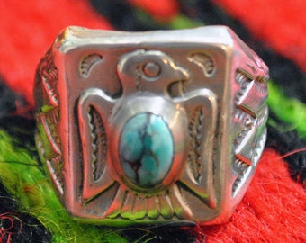 Thunderbird Silver and Turquoise ring sz.9 California silver Made by our shop Vintage style