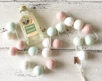 Felt Ball Garland - Pillow Mints - Pink White Baby Nursery Decor- Girl Nursery - Baby Shower Decor - Floral Nursery Decor -  Wall Decor
