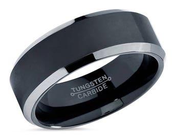 Men's Tungsten Wedding Band,Men Tungsten Wedding Ring,Black Tungsten Band,Engagement Ring,Anniversary Ring,Comfort Fit,Beveled Edges,8mm,6mm