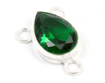 Green Chrome Diopside And Sterling Silver Connector. Green Diopside Connector. Green Teardrop Connector. Green Stone Connector. 21mm x 15mm
