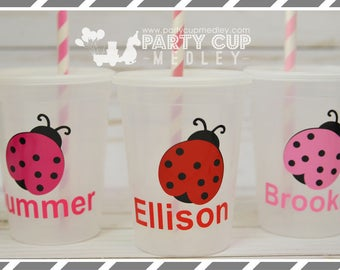 Lady Bug Birthday Party- Birthday Party-Spring Party Favor Cups-Personalized Cups