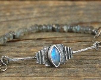 SALE 20% off !!! - use the coupon code: SALE20 moonstone labradorite bracelet, raw rough silver  bracelet