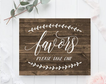 Favors sign Printable , Rustic Favors sign, Wedding favors sign, Rustic Wedding sign, Printable wedding favors, Wedding favors