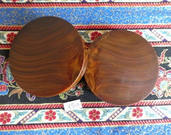 60mm Handmade Wooden Pau Santo 'Brazilian Blackheart' Ear Plugs Pair - Easy Care ( Overall size 61.4mm )