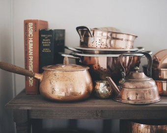 Vintage Copper Lidded Pot With Wooden Handle