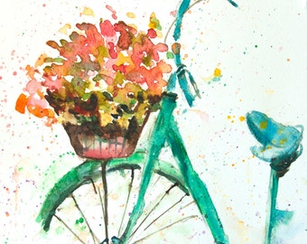 Blue green bicycle with flowers , Original watercolor with signed for wall decorate,size 21 x 29.7 cm
