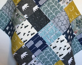 Baby Boy Quilt-Woodland Quilt-Deer Quilt-Adventure Awaits-Bear-Arrow-Neutral-Mountains-Boy Crib Bedding-Constellation-Flannel-Boy Blanket