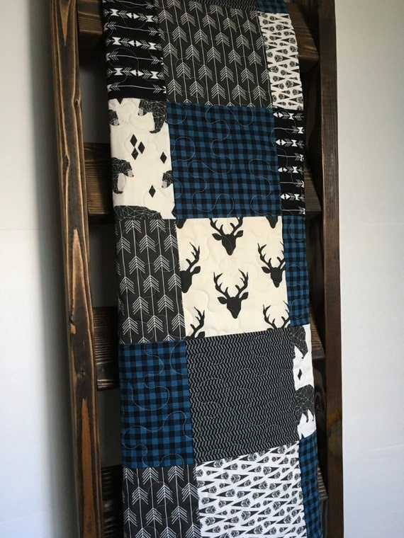 Baby Boy Quilt Rustic Quilt Plaid Quilt Blue Buffalo