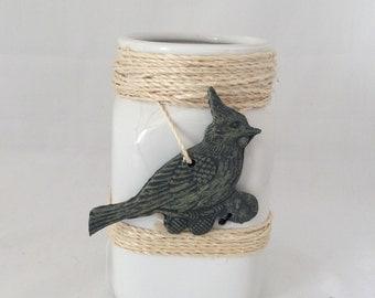 White Mason Jar Vase - White