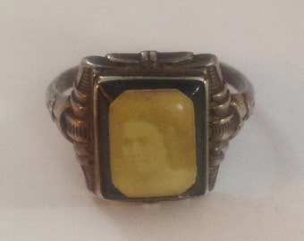 Stunning antique sterling silver picture ring size 11
