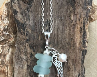 Scottish Sea glass sea foam stack pendant with sterling Angel wing and freshwater pearl