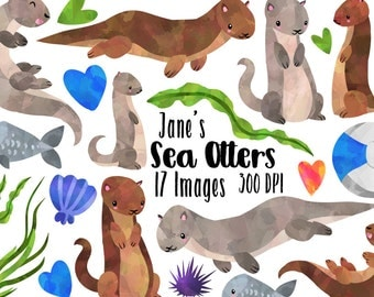 Otter Clipart - Watercolor Otters Download - Instant Download - Cute Otters and Sea Creatures