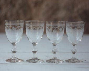 Set of 4 Antique French Engraved Crystal Aperitif Glasses