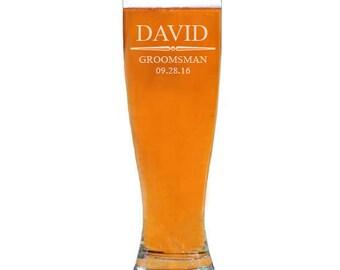 Groomsmen Pilsner Glasses, Personalized Beer Glass, Custom Pilsner Glass, Groomsmen Gifts, Best Man Gift, Beer Gift, 20 oz
