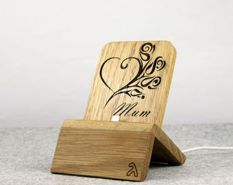 iPhone Dock (Oak - Mothersday design) for iPhones 5/5S/6/6S/Plus/SE/7 with/without cases / Lightning Dock
