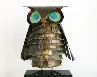 Curtis Jere Metal Enamel Owl Sculpture Mid Century