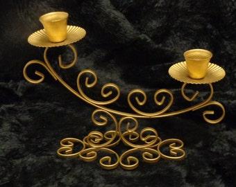 Tabletop Goldtone Metal Scrollwork 2-Candle Holder ~ Retro Ornate Fluted Candlestick Holder ~ Multiple Candle Stand Mid-Size ~ JAPAN Vintage