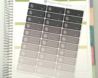 30 Bill Due Monochrome Planner Stickers, for use with ERIN CONDREN LIFEPLANNER™