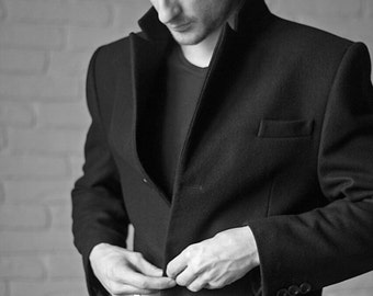 Men's coat, wool coat men, winter coat men, men's overcoat, wool overcoat, wool coat, black coat, custom coat.